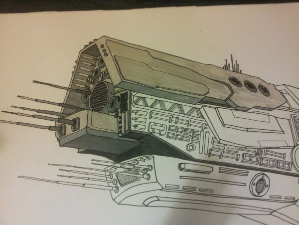 UNSC Infinity, front section with colour.