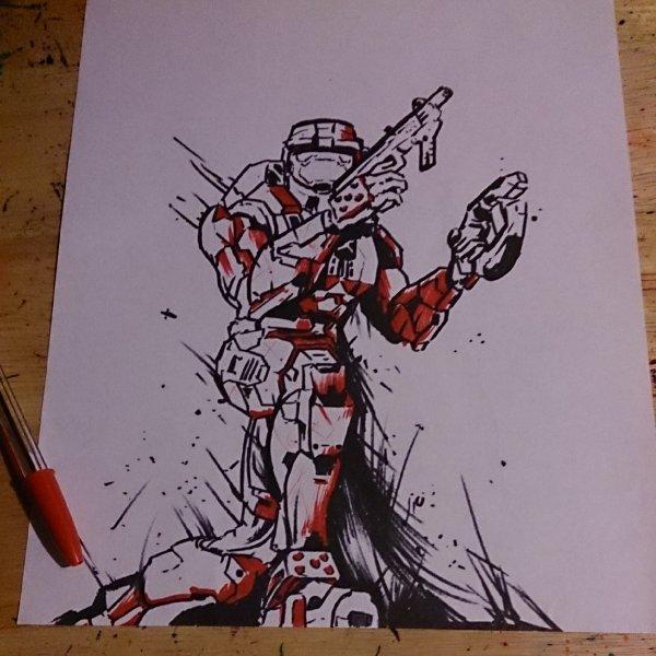 Halo 2 Spartan Drawing in progress